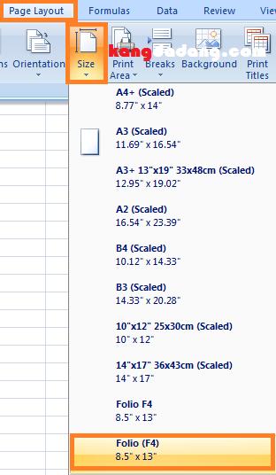 cara menambahkan ukuran kertas folio di excell 4