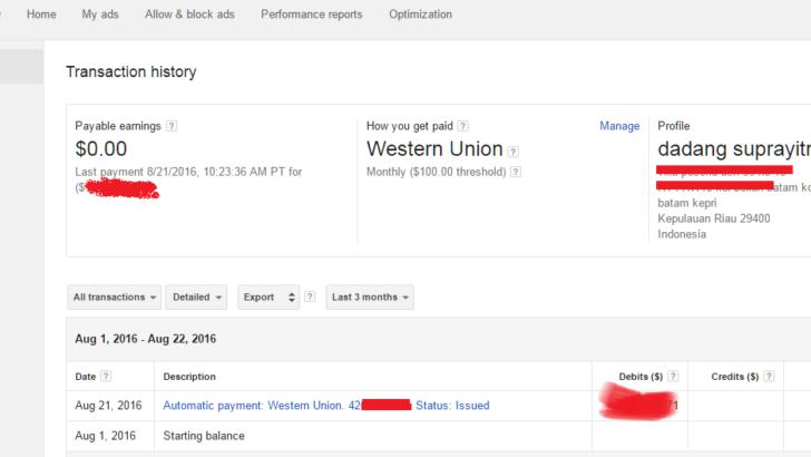 Menu Tampilan Pembayaran Google Adsense Terbaru