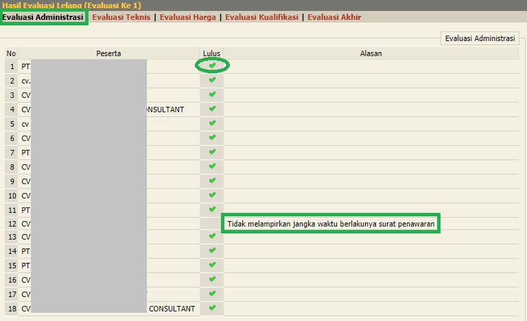 cara input Evaluasi administrasi pada e-seleksi sederhana