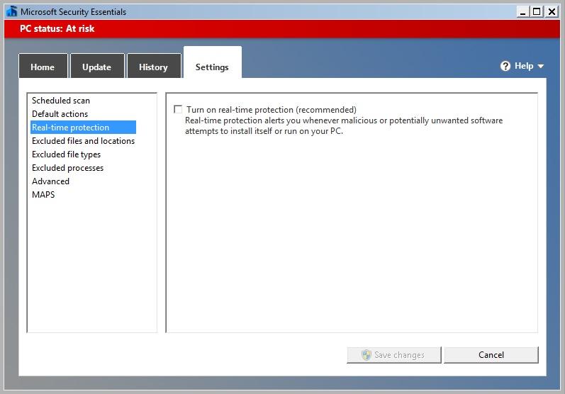 cara mematikan sementara Microsoft Security Essentials